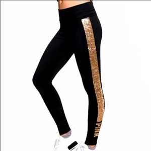 Cotton leggings with gold stripes